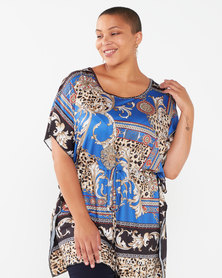 Queenspark Plus Collection Animal Heraldic Printed Knit Top Multi