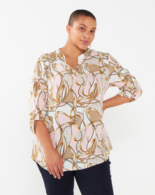 Queenspark Plus Collection Scarf Printed Satin Woven Blouse Neutral