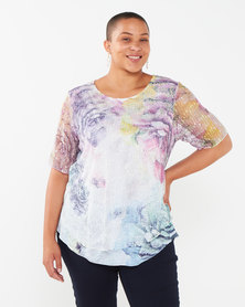 Queenspark Plus Collection Layered Knit Top Pink Rose