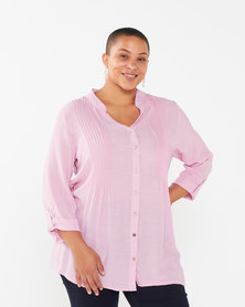 Queenspark Plus Collection Plain Ghost Woven Longer Length Shirt  Pink