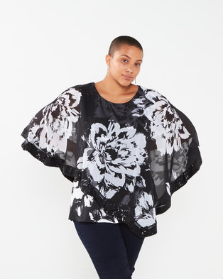 Queenspark Plus Collection Printed Layered Sequined Knit Top Black