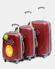 HappyDeals- 3 Pcs Luggage Set-Red