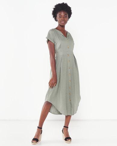 Miss Cassidy By Queenspark Curved Hem Button Through Woven Dress Sage