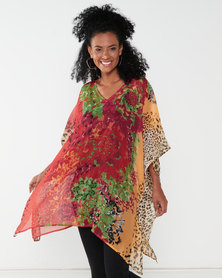 Queenspark Animal Floral Beaded Woven Kaftan Multi