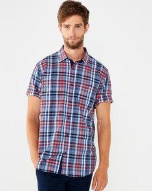 JCrew Check Short Sleeve Shirt Orange Multi