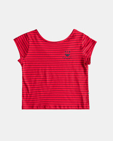Roxy Girls Baby T-Shirt Red/Navy Stripe