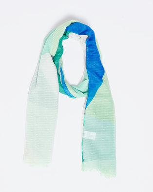 Queenspark Colourblocked Dobby Viscose Printed Scarf Mint