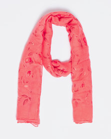 Queenspark Flower Print With Soft Foil Effect Coral
