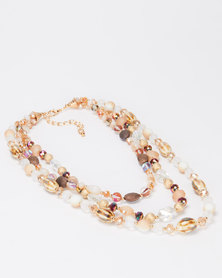 Queenspark Triple Strand Necklace Multi