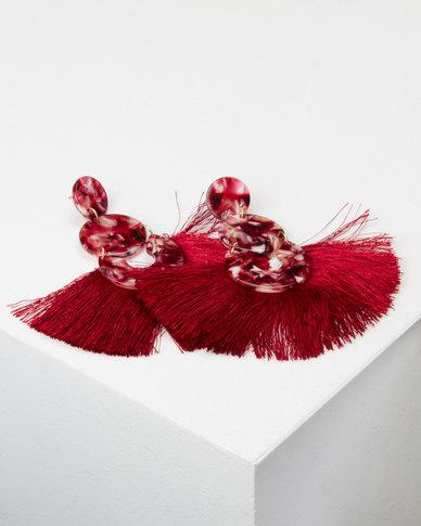 Queenspark Resin and Tassel Earrings Red
