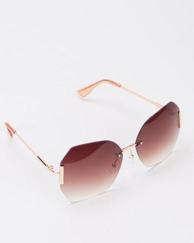 Queenspark Frameless Sunglasses Brown