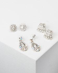 Queenspark 3PK Huggie/Stud and Drop Earrings Silver