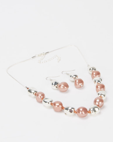 Queenspark 2PK Rose Gold and Silver Stones with Earrings Set  Pink