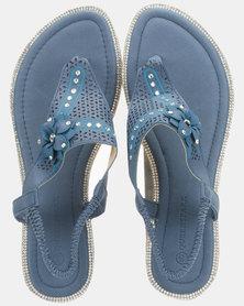 Queenspark Laser Cut Triangle Flower Thong Sandals Navy