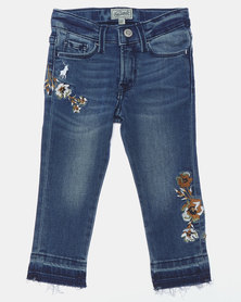 Polo Jeans Co Girls Medium Wash Kim Embroidered Cropped Jeans Blue