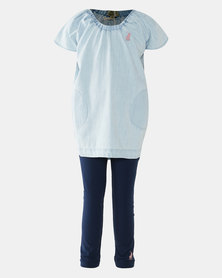 Polo Girls Maya Dress & Legging Set Blue