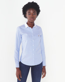 Polo Lds Carina Ls Oxford Shirt Blue