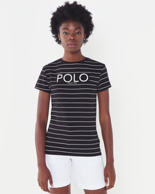 Polo Lds Ariana Ss Printed Stripe Tee Black