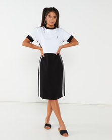 Polo LDS Gina Short Sleeve Colour Blocked Dress Black
