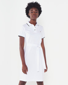 Polo Lds Kerry Ss Tie Belt Golfer Dress White