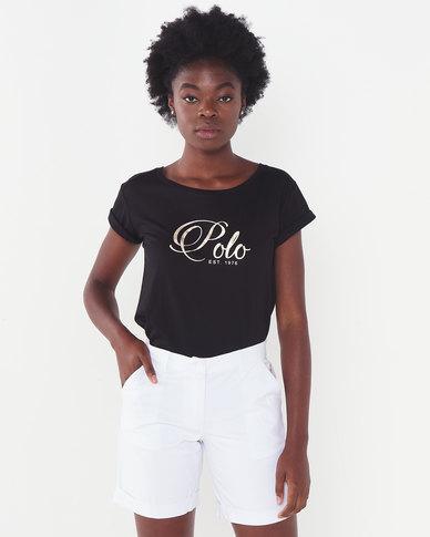 Polo Lds Jemma Ss Foil Printed Tee Black
