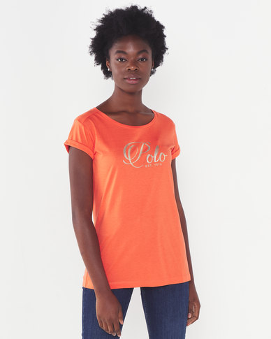 Polo Lds Jemma Ss Foil Printed Tee Coral