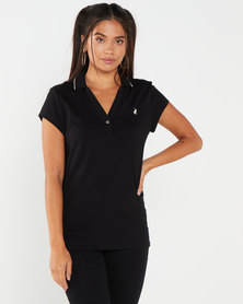 Polo LDS Chelsea Short Sleeve V Neck Stretch Golfer Black