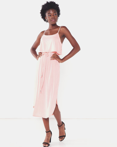 Utopia Strappy Knit Dress Pink