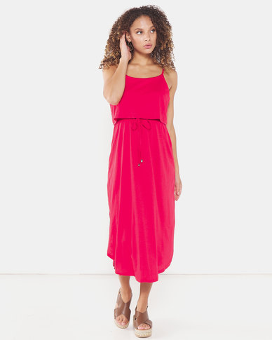 Utopia Strappy Knit Dress Red