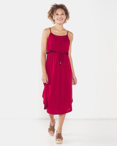 Utopia Strappy Knit Dress Burgundy
