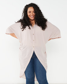 Utopia Plus Georgette Oversized Top Pink