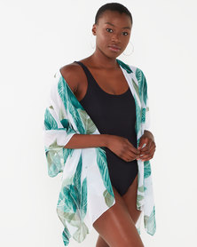 Joy Collectables White/Green Leaf Short Kaftan