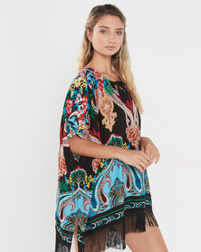 Joy Collectables Printed Fringed Kaftan Black Multi