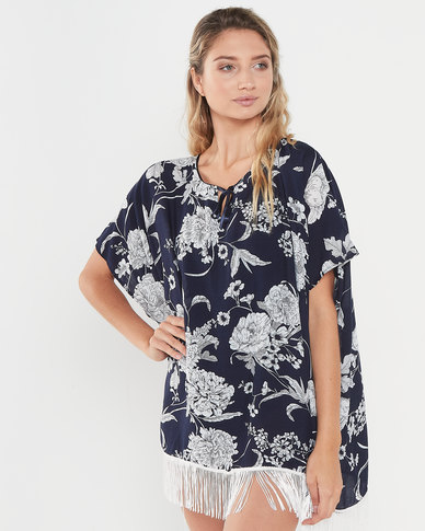 Joy Collectables Floral Top With Fringe Blue And White