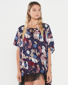 Joy Collectables Floral Top With Fringe Blue Multi