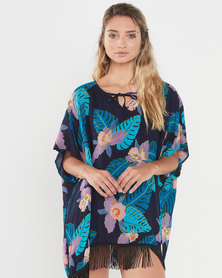 Joy Collectables Tropical Top With Fringe Blue