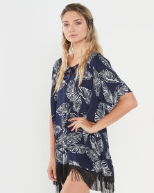Joy Collectables Leaf Print Top With Fringe Multi