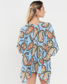 Joy Collectables Paisley Short Jacket Kaftan Blue