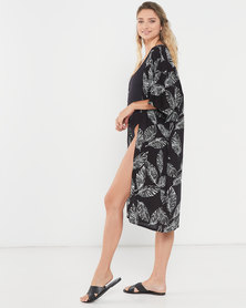 Joy Collectables Leaf Long Jacket Kaftan Black