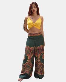 SKA Pastel Tie Dye Open Flared Pants Green