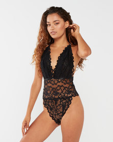 Sissy Boy All Over Lace with Back String Bodysuit Black