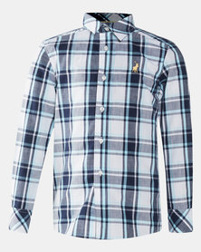 Polo Boys Blake Long Sleeve Checked Shirt Navy