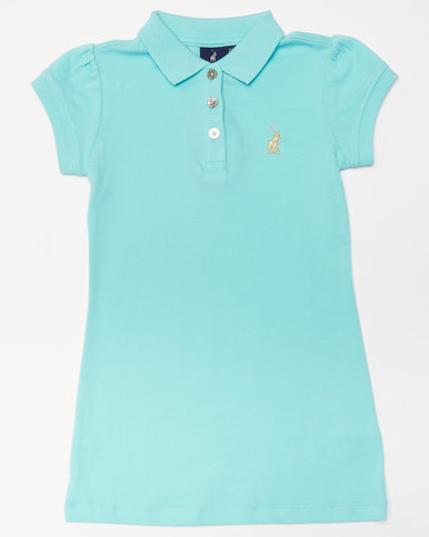 Polo Girls Dakota Golfer Dress Turquoise