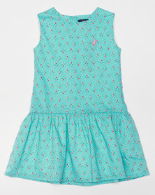 Polo Girls Hazel SL Floral Dress Turquoise