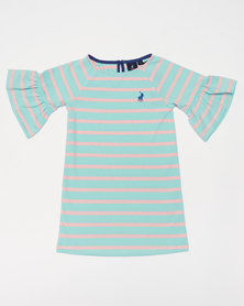 Polo Girls Nicola MS Striped Dress Turquoise