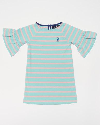 Polo Girls Nicola MS Striped Dress Turquoise