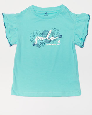 Polo Girls Candice Printed Tee Turquoise