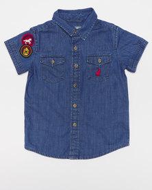 Polo Boys Medium Wash Duncan SS Shirt Blue