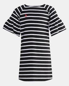 Polo Girls Nicola Ms Striped Dress Black