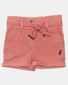 Polo Girls Kerry Belted Shorts Salmon